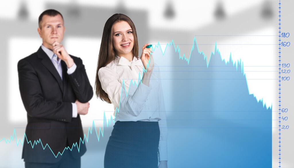 Grafik, Statistk, Businessfrau, Businessmann